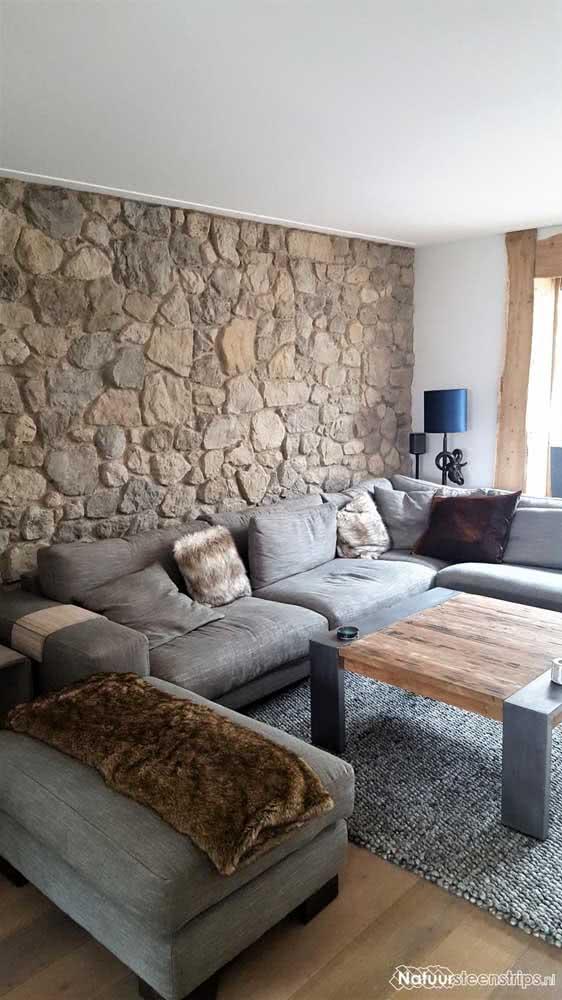 Revestimento de pedra para sala: rústico e aconchegante