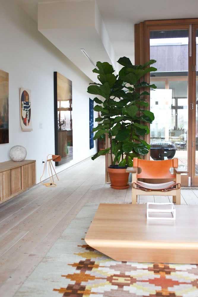 Vaso de barro para a Ficus seguindo a paleta de cores da decoração