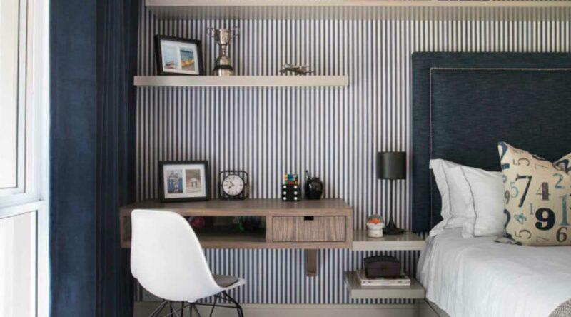 Papel de parede listrado: vantagens, dicas, como escolher e fotos