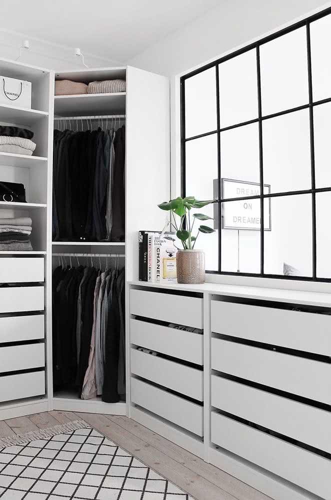 Guarda roupa de canto perfeito para um quarto minimalista