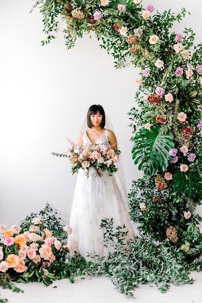 Mini selva na decoração do casamento