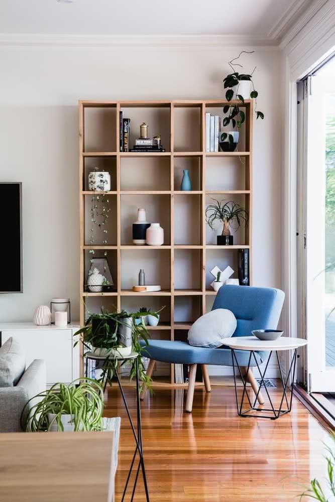 Agrupe livros, plantas e vasos na organização da estante