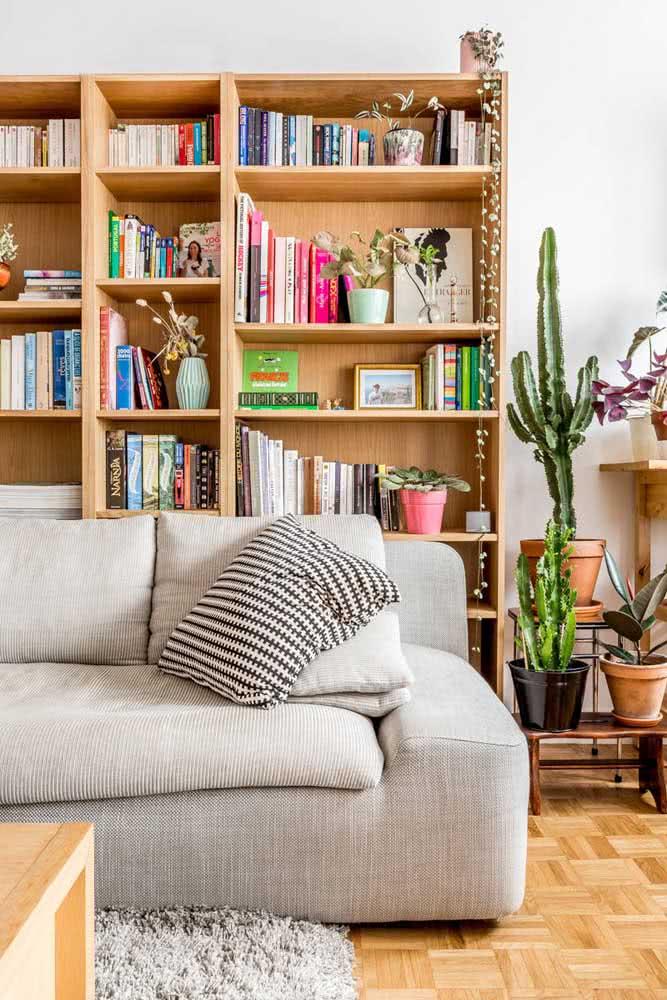 Mini biblioteca na sala de casa