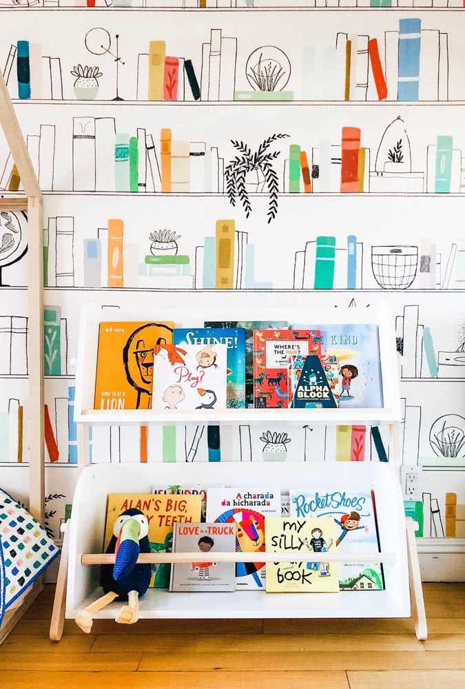 Livros em dose dupla: nas prateleiras e no papel de parede