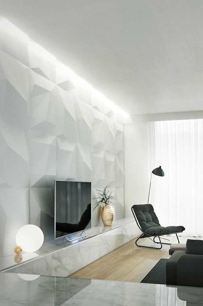 A iluminação é a finalização perfeita da parede de gesso 3D. Ela destaca e valoriza as formas em alto relevo