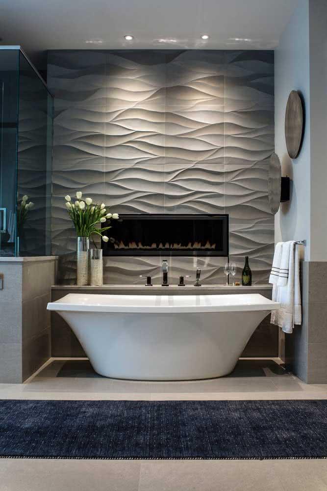 Placas de gesso 3D cinza para completar o projeto desse banheiro moderno