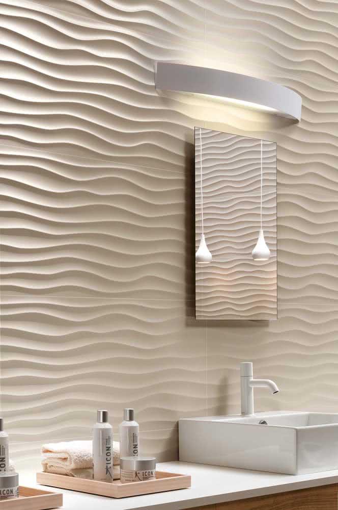 Placa de gesso 3D ondulada para destacar a parede do lavabo