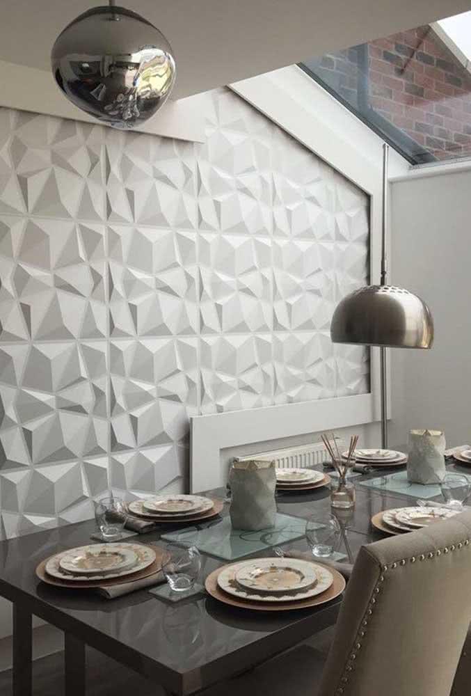Sala de jantar moderna com placas de gesso 3D