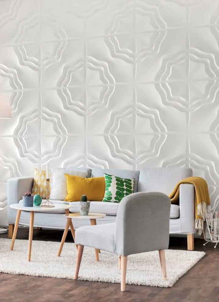 Escolha a parede de maior visibilidade do ambiente para instalar as placas de gesso 3D