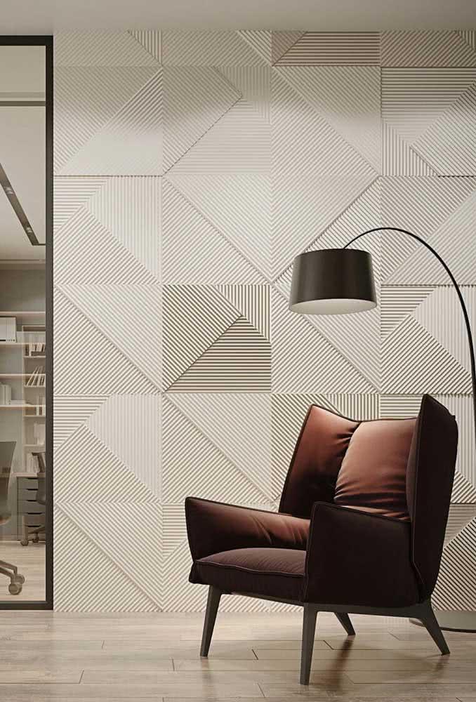Placas geométricas em alto relevo: uma composição moderna e sofisticada para sala de estar
