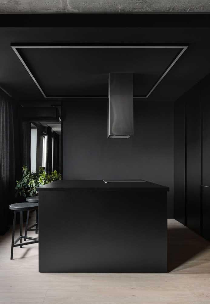 Cozinha preta para quem deseja arrasar no projeto minimalista