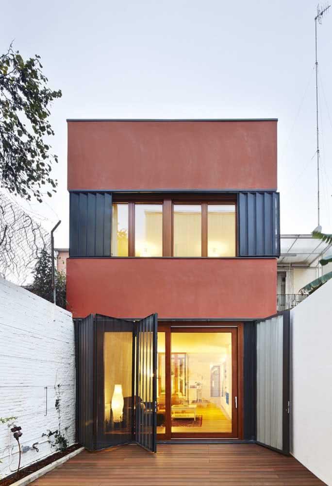 Casa por fora colorida e moderna