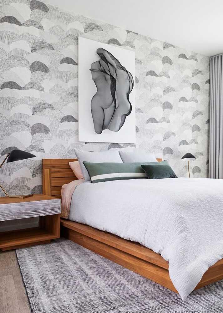 Papel de parede preto e branco com padrão de estampas