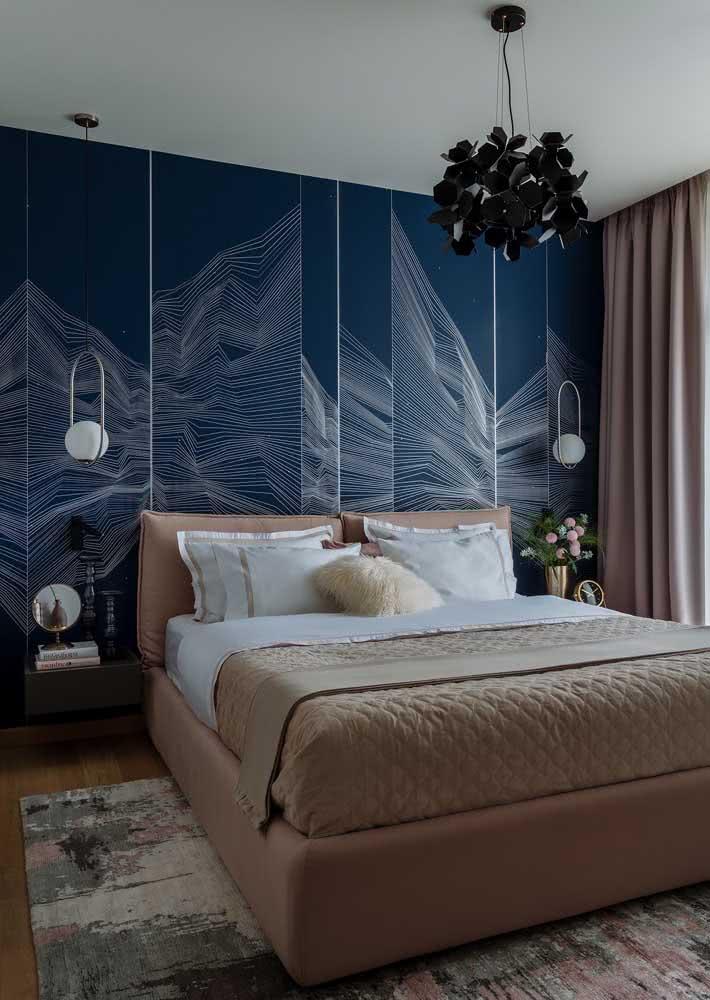 Canyon de linhas brancas em um papel de parede com fundo azul marinho.