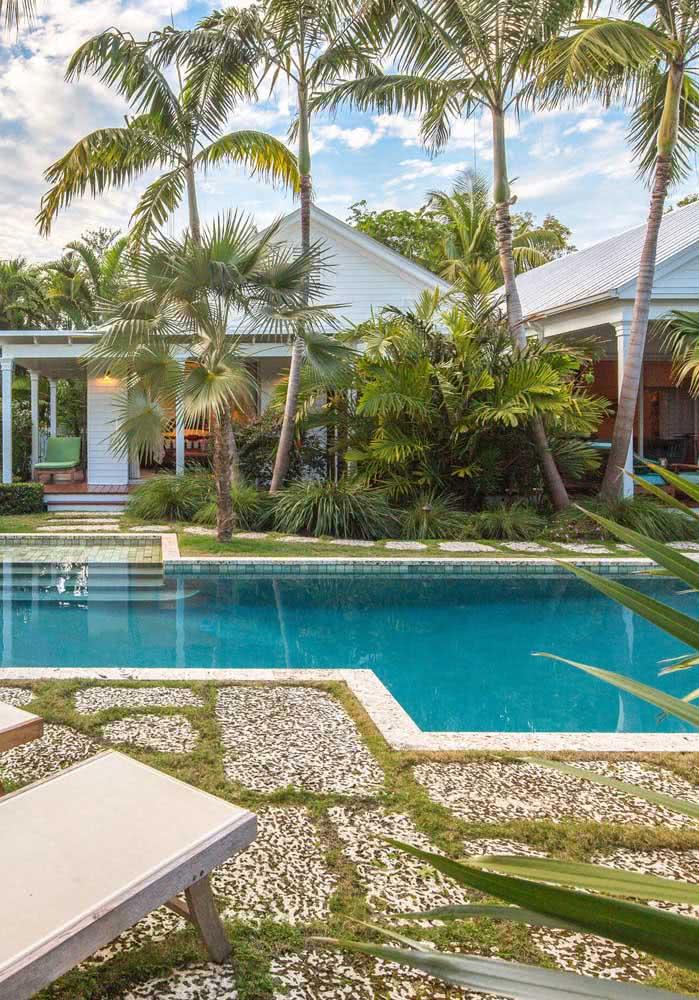Jardim tropical com coqueiros e piscina, é claro!