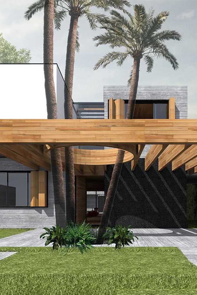 Arquitetura e coqueiros de jardim andam de mãos dadas por aqui