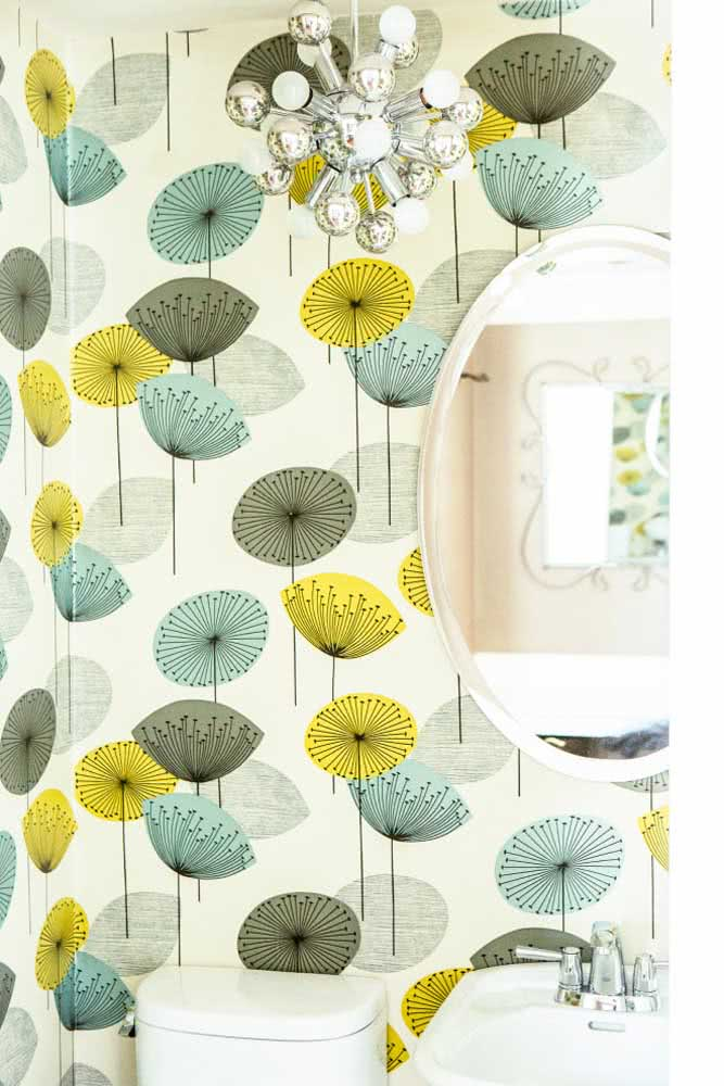 Papel de parede floral 3D para um lavabo fora do comum