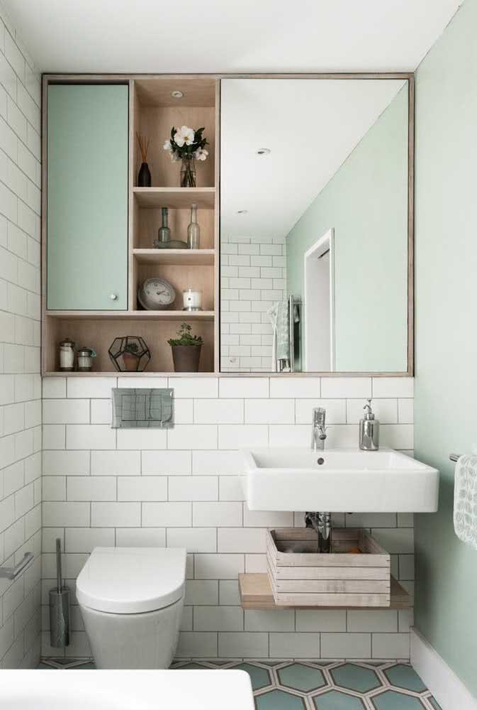 Banheiro verde menta nos detalhes