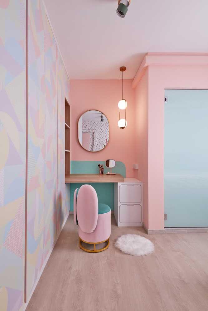 Quarto verde menta e rosa: acolhedor e confortável