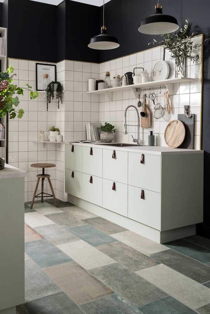 Fundo verde menta para a cozinha integrada