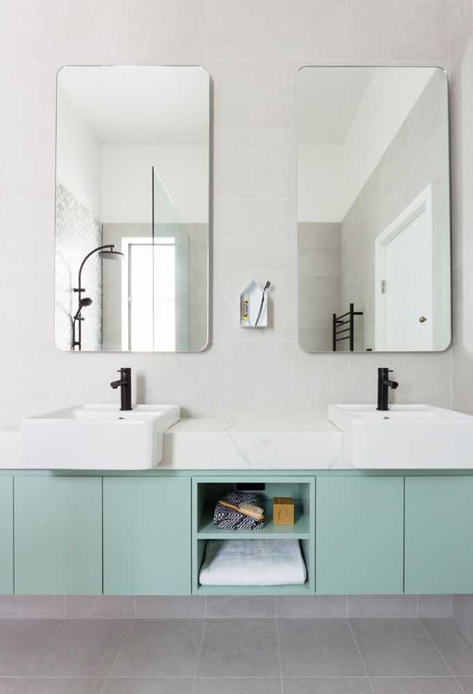 Gabinete verde menta para o banheiro moderno
