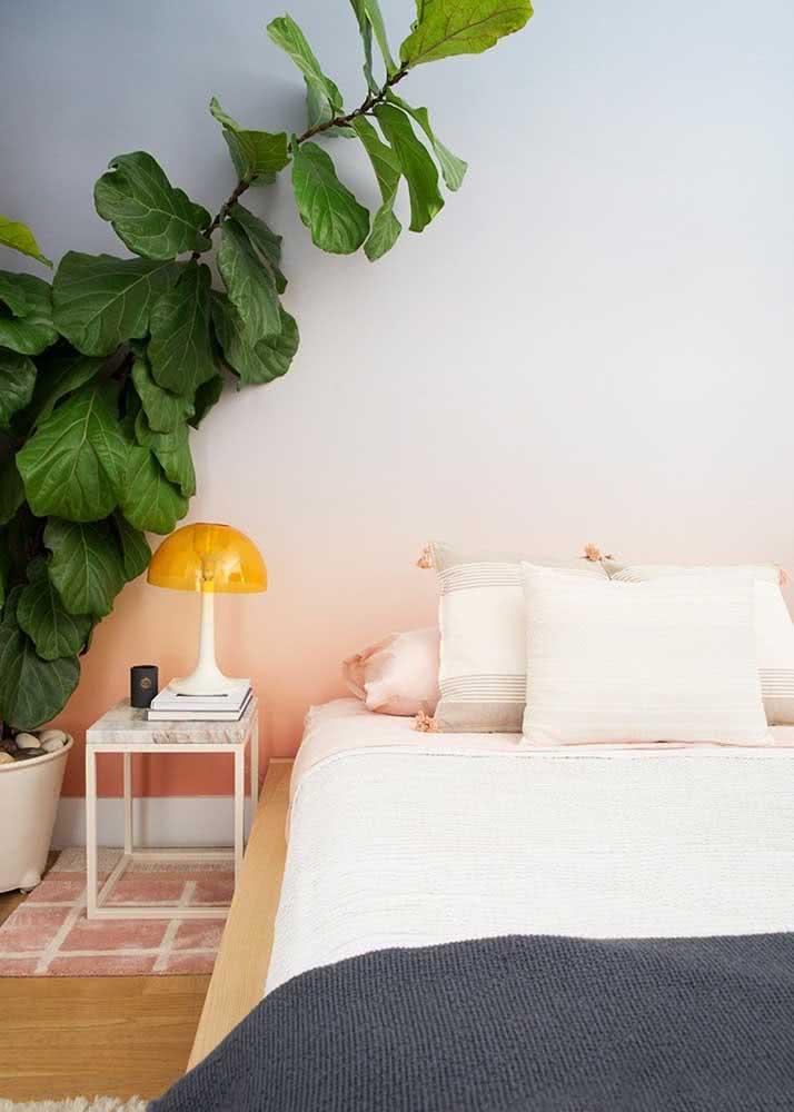 E o que acha de um papel de parede para quarto de casal com efeito degradê?
