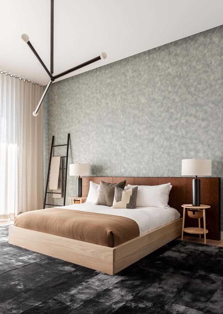 Papel de parede para quarto de casal moderno em tons suaves de cinza