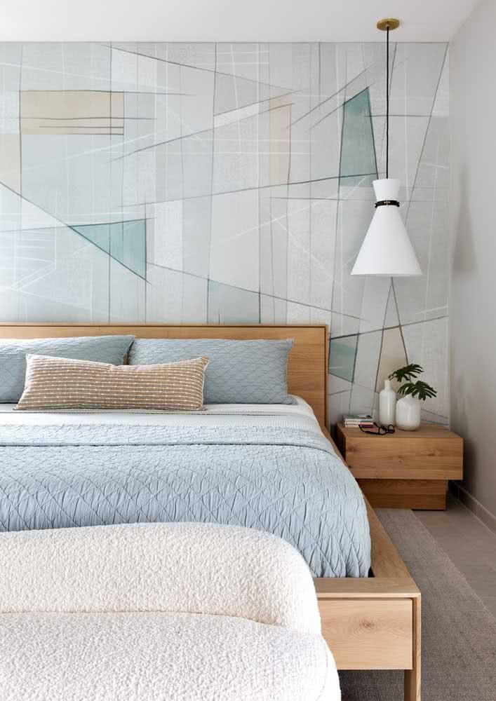 Estampas geométricas são outra boa pedida para o papel de parede para quarto
