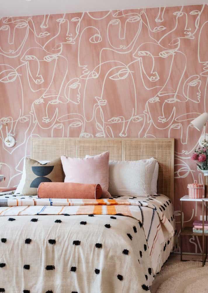 Arte moderna na estampa do papel de parede para quarto feminino
