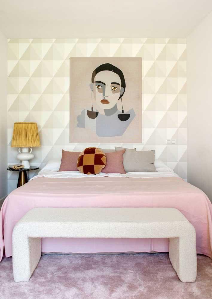 Papel de parede para quarto feminino 3D ressaltando a decoração moderna e elegante do ambiente