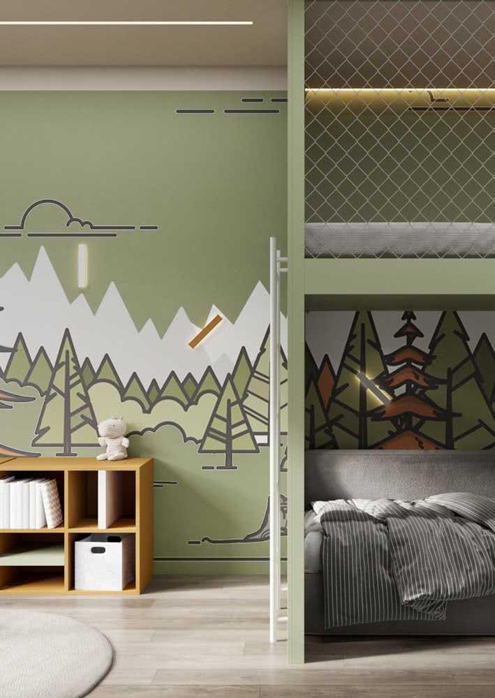 Papel de parede para quarto de menino com tema de floresta