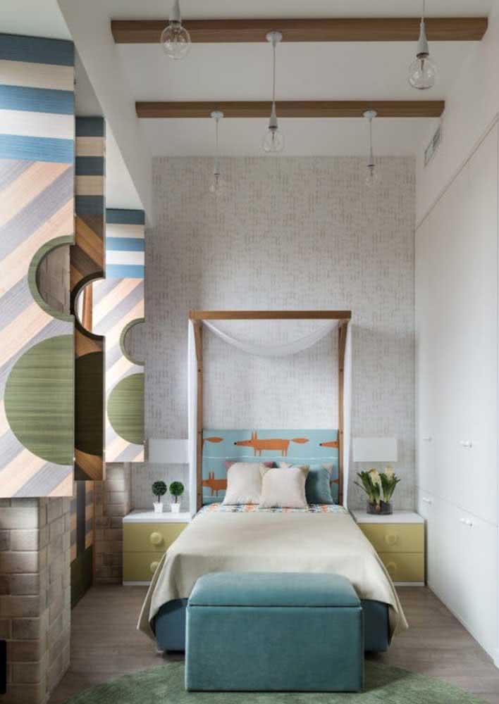Papel de parede infantil combinando com toda a decoração do quarto