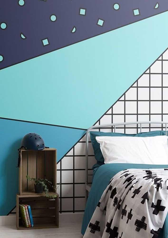 Papel de parede para quarto infantil com estampa geométrica, mas sem deixar de ser lúdico