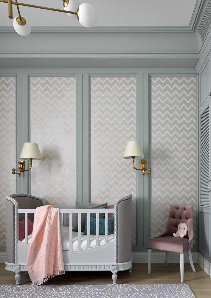 Chevron para a estampa neutra e minimalista do papel de parede de bebê