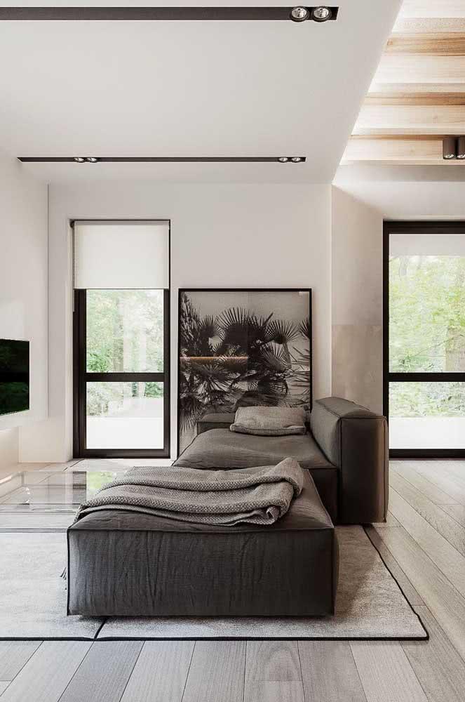Divã cinza para a sala moderna e minimalista