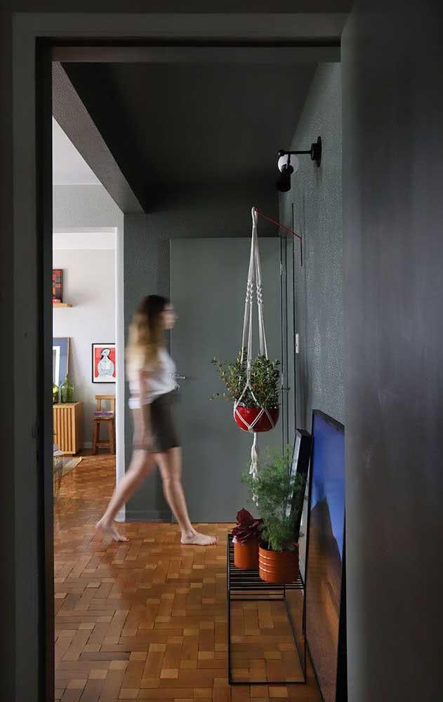 Hall de entrada pequeno decorado com uma pintura especial