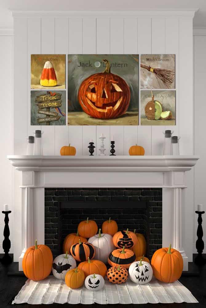 As abóboras de halloween invadiram a lareira
