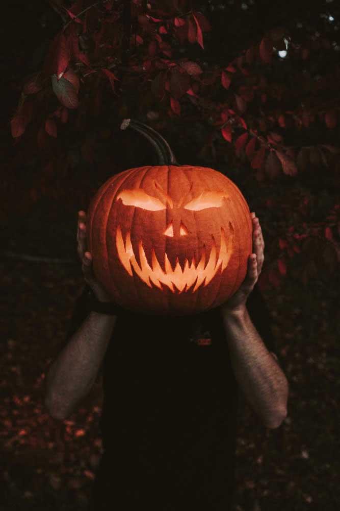 Abóbora assustadora de halloween: não pode faltar