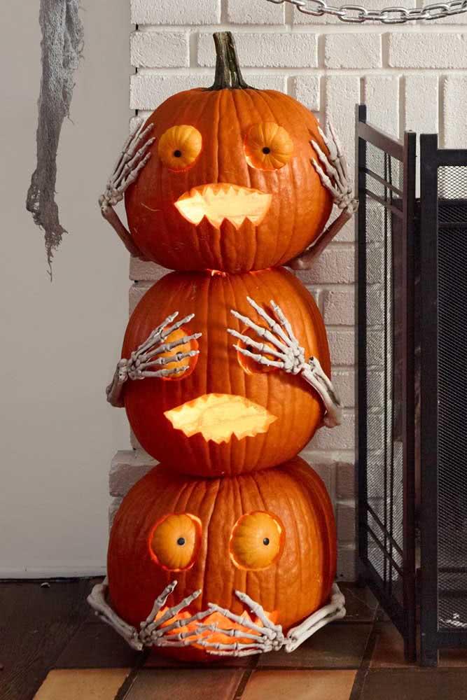 Trio de abóboras de halloween pra lá de fofas!
