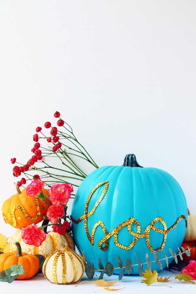 E o que acha de uma abóbora de halloween azul?