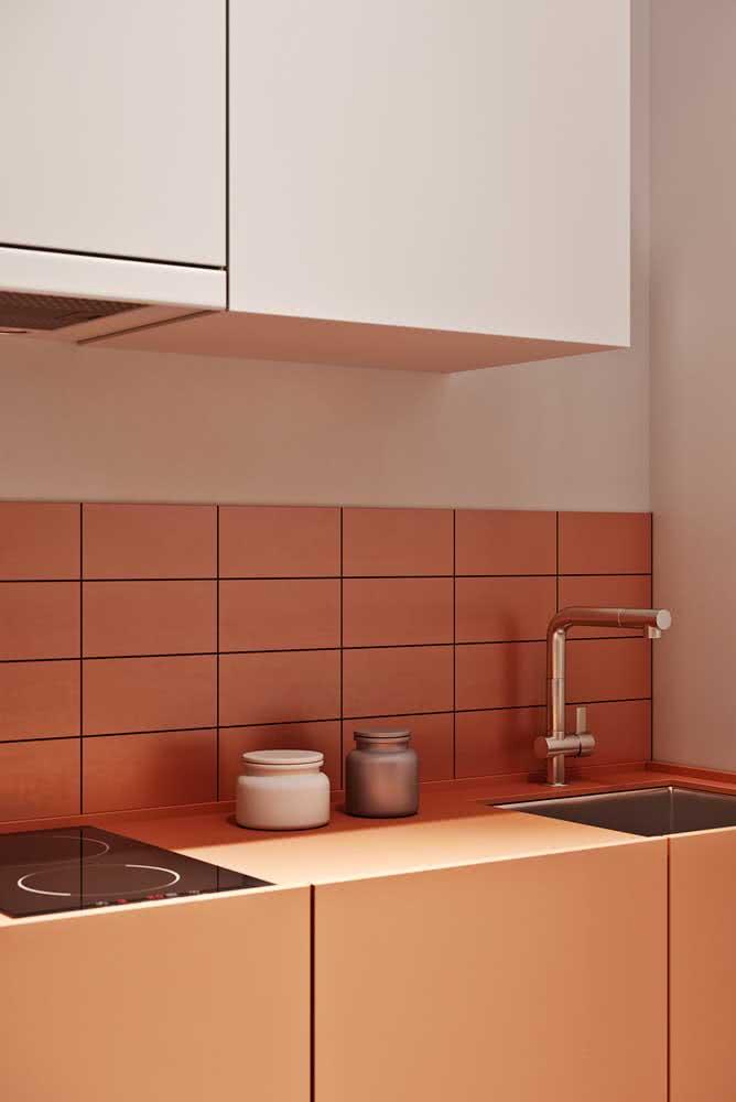 Cerâmica para parede cozinha no mesmo tom do armário