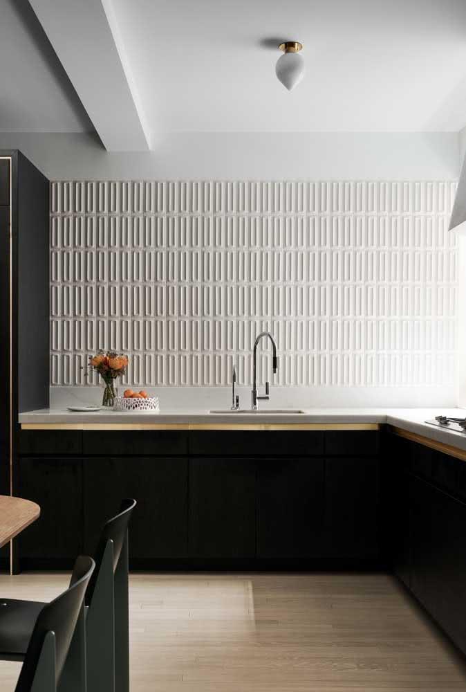 Cerâmica para parede 3D na cozinha moderna