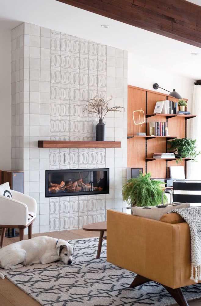 Cerâmica para parede da sala em harmonia com a decoração