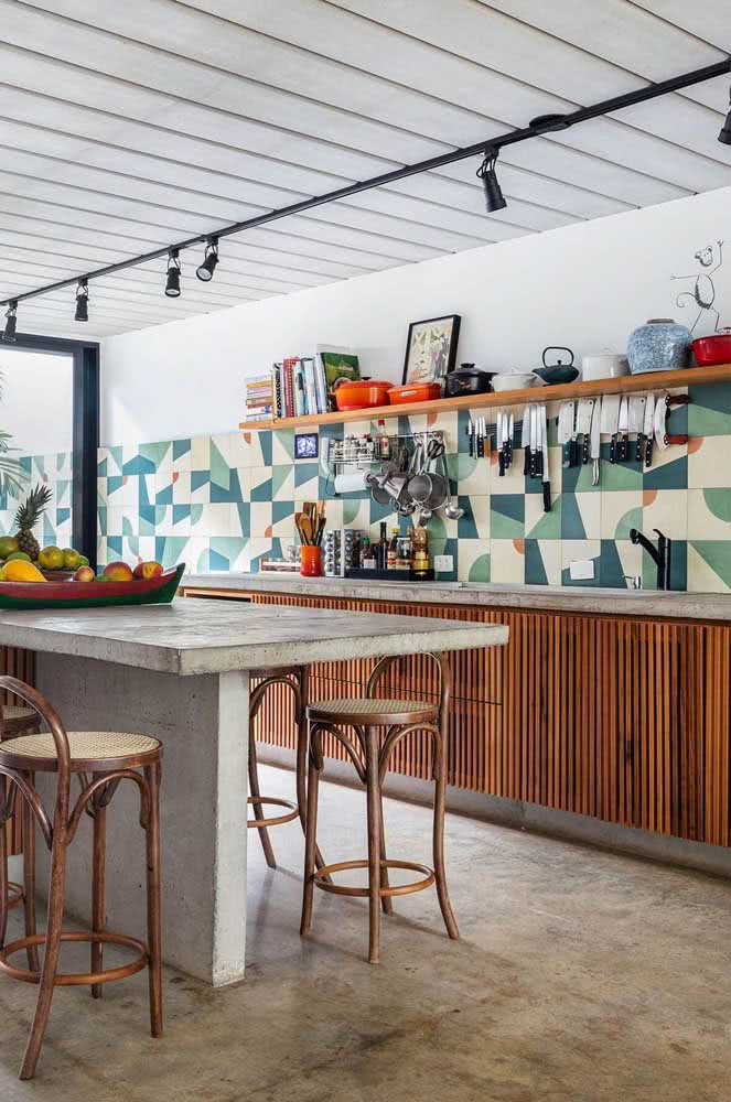 Cerâmica para parede cozinha com estampas vivas e modernas