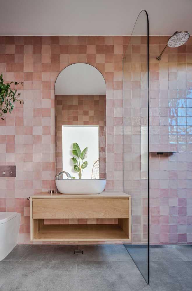 Pastilhas cor de rosa para o banheiro