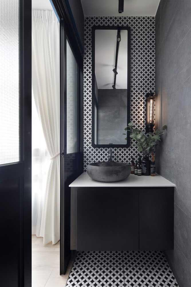 Cerâmica para parede em preto e branco: um luxo!
