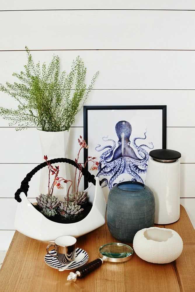 Vaso de cerâmica para suculentas em formato de cesto