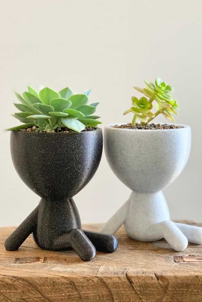 Uma dupla fofíssima de vasos criativos para as suculentas