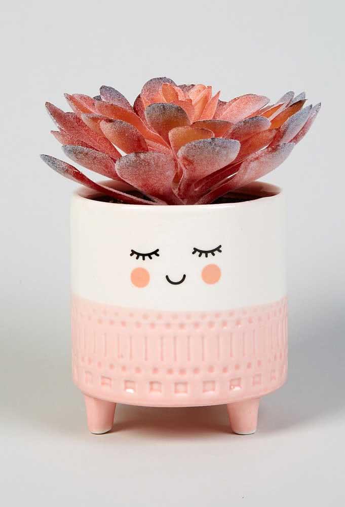 Vaso decorativo e lúdico para suculentas