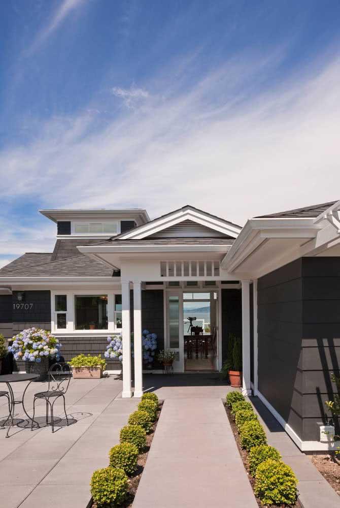 Branco e cinza para a fachada de casa moderna e elegante